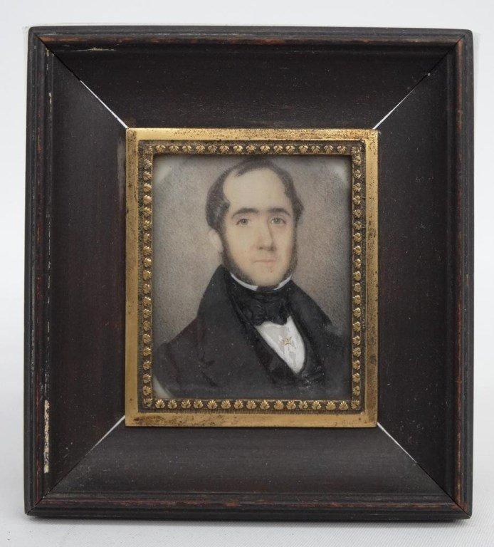 Pair 19th c. Miniature Portraits - 4