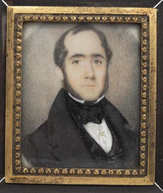 Pair 19th c. Miniature Portraits - 5