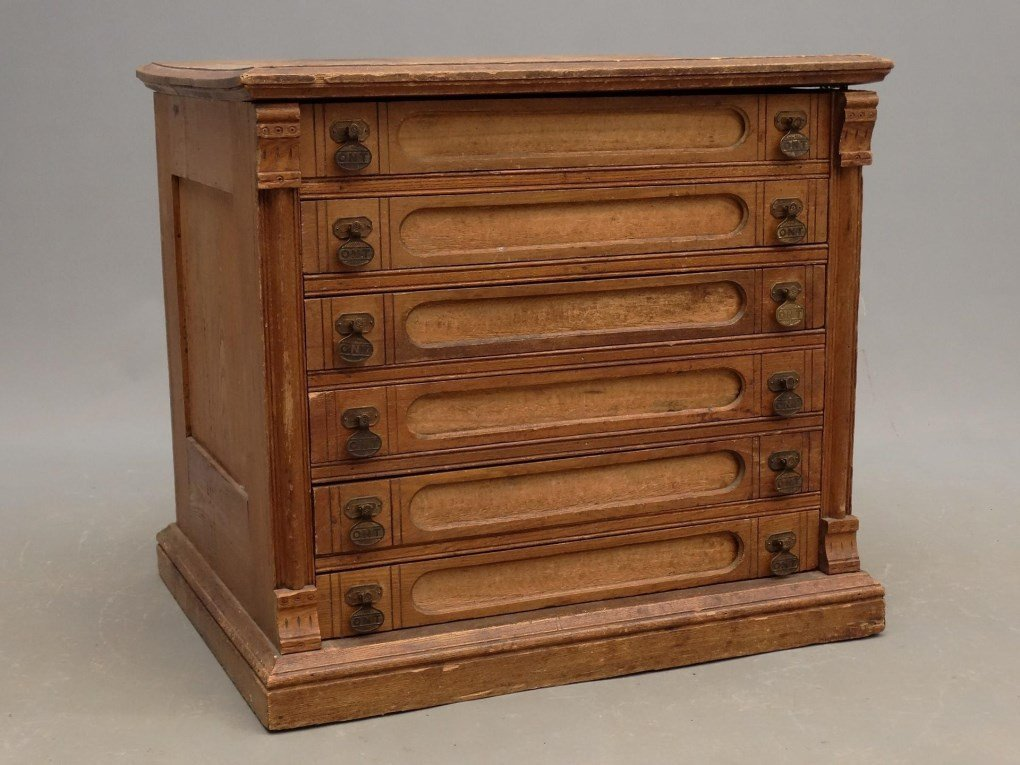 19th c. Oak Sewing Cabinet