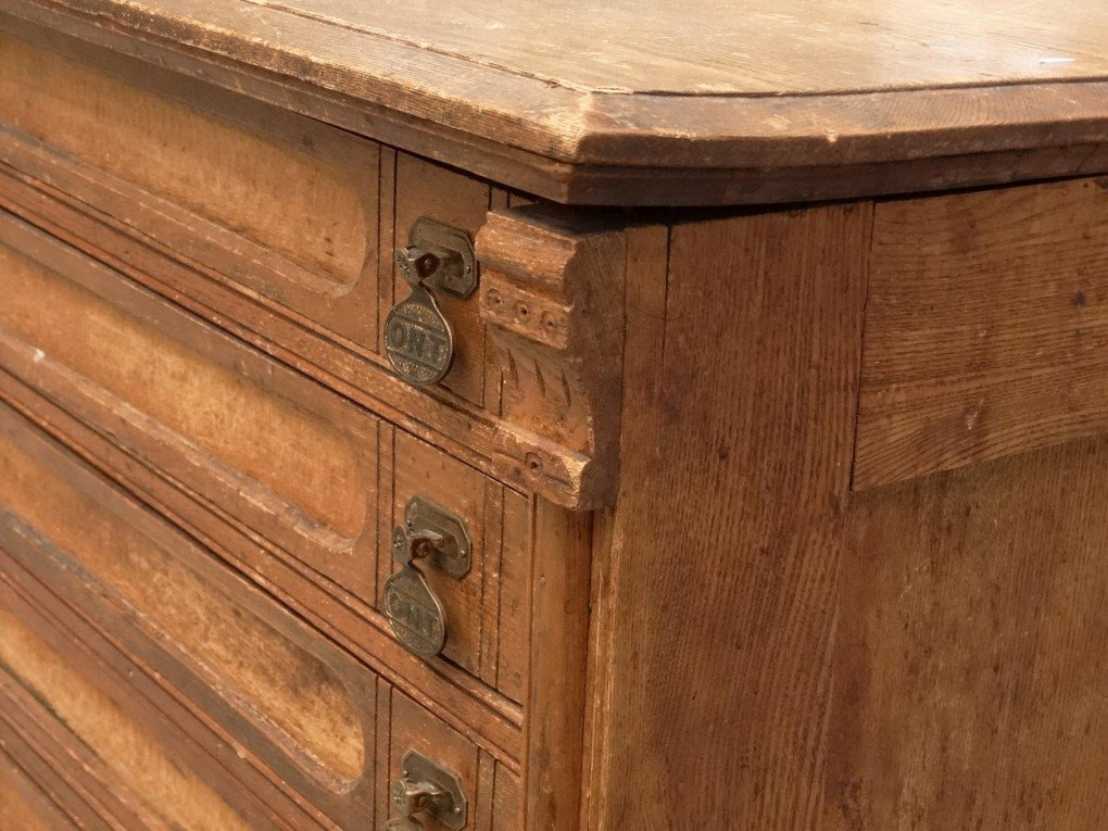 19th c. Oak Sewing Cabinet - 5