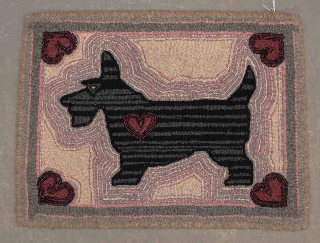Scotty Dog Hooked Rug