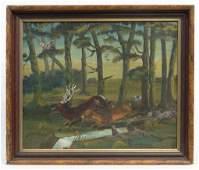American School Deer In Landscape