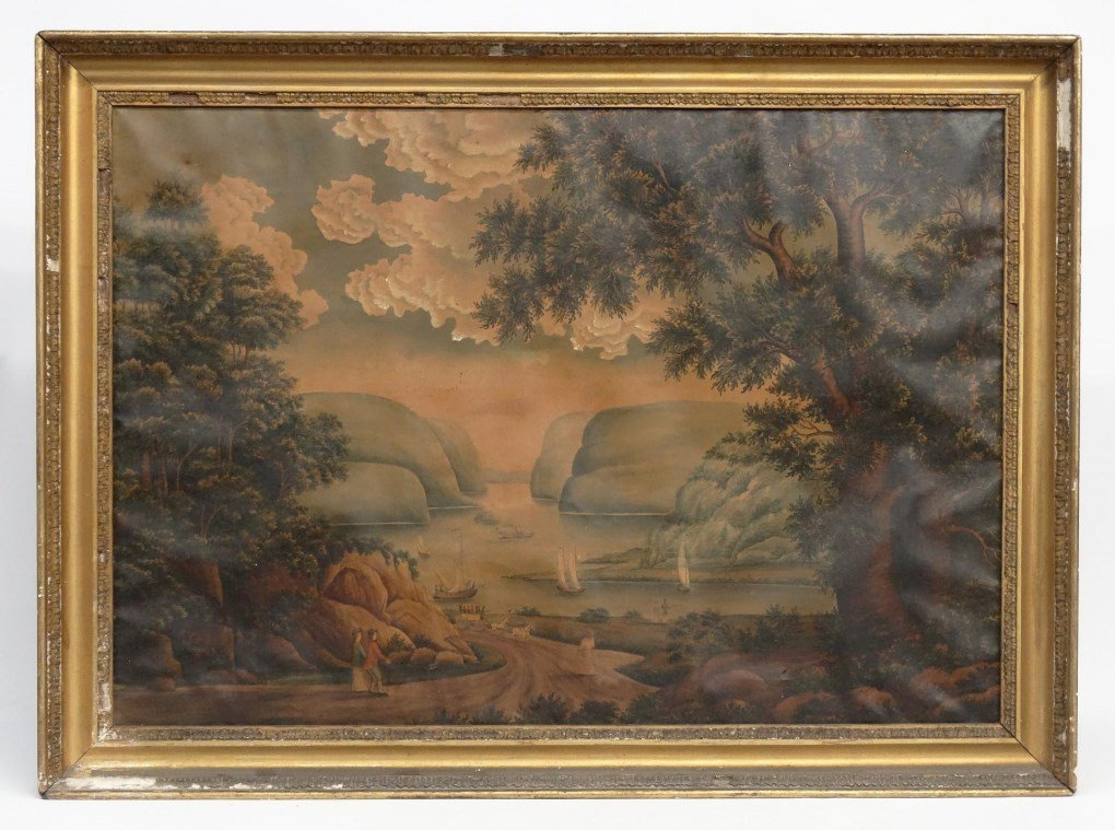 19th c. Hudson River School, Watercolor