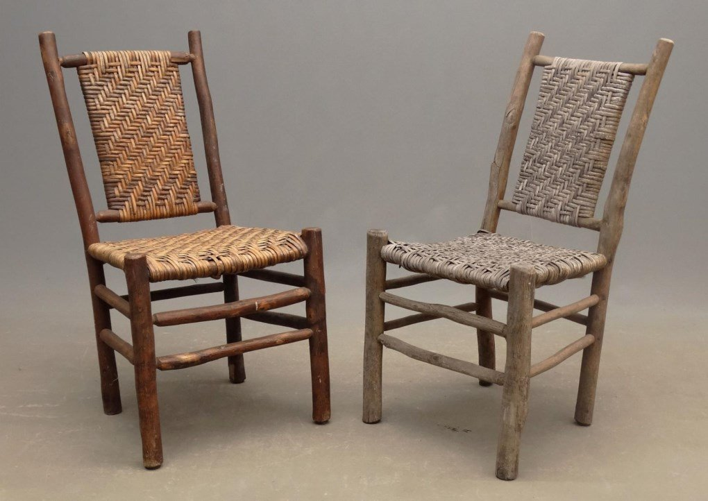 Pair Old Hickory Side Chairs