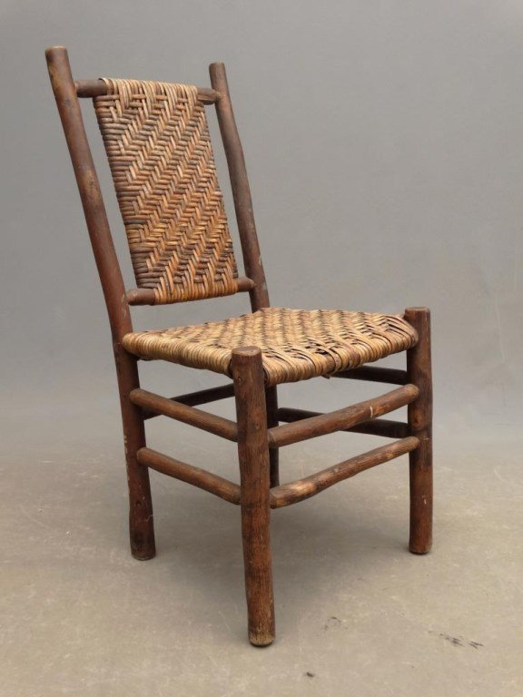 Pair Old Hickory Side Chairs - 4