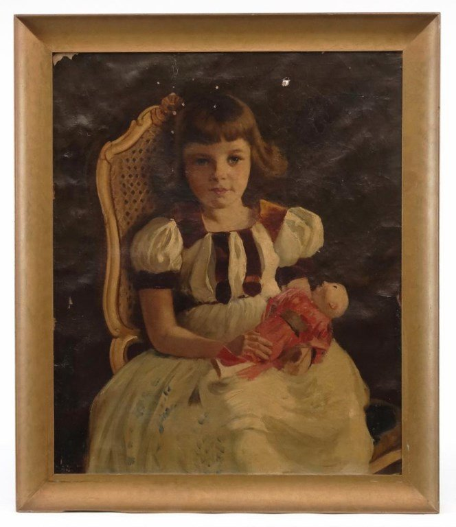 American School, Little Girl With Doll