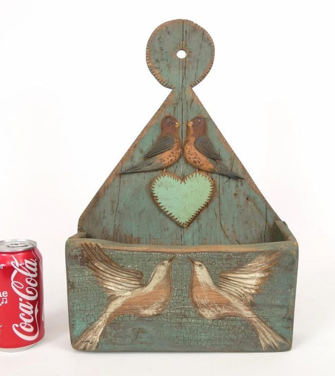 Folk Art Bird Decorated Wall Box