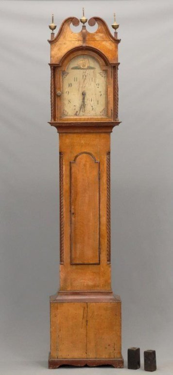 19th c. Paint Decorated Grandfather Clock