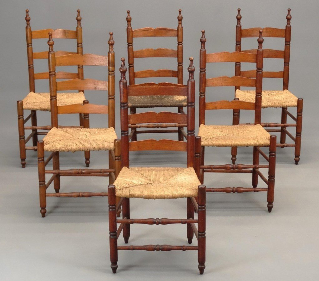 Set of (6) 18th c. Demarest N.J. Chairs