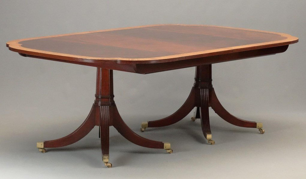 Mahogany Double Pedestel Dining Table