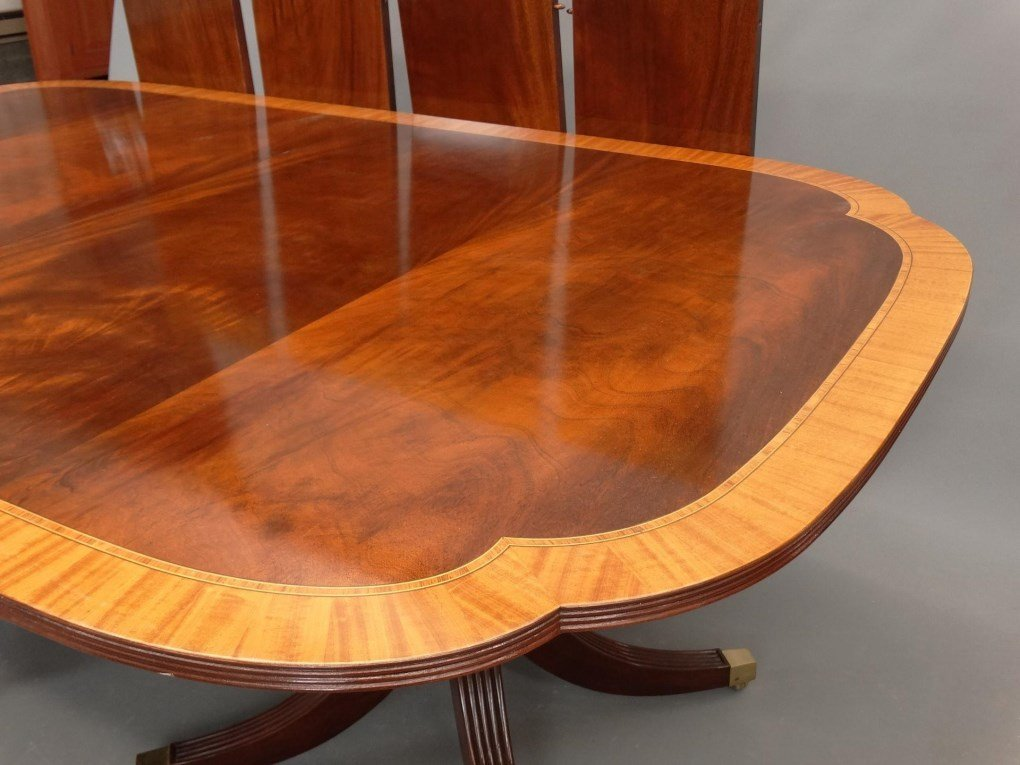 Mahogany Double Pedestel Dining Table - 4