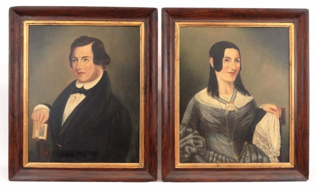 Pair 19th c. Dater Family Ancestral Portraits