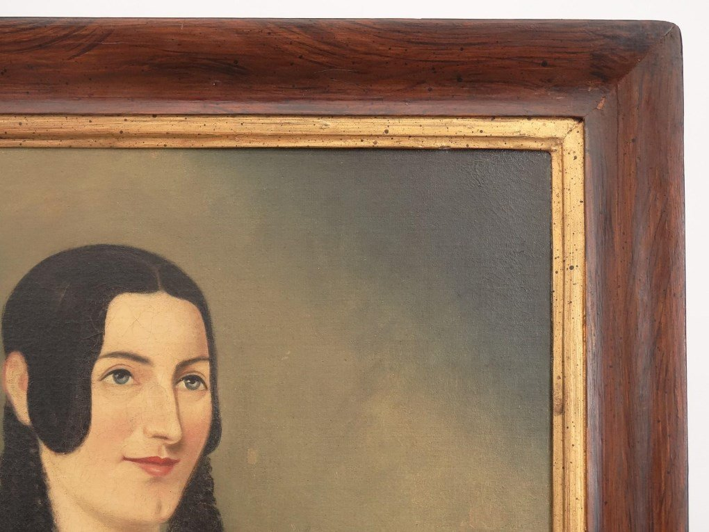 Pair 19th c. Dater Family Ancestral Portraits - 4