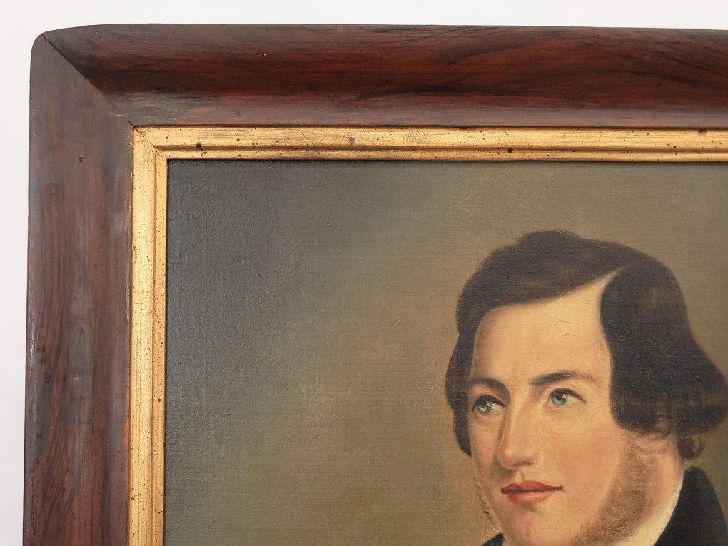 Pair 19th c. Dater Family Ancestral Portraits - 7