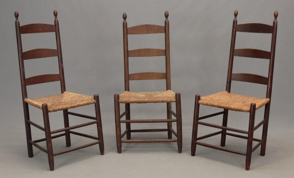 Three 19th c. Shaker Chairs
