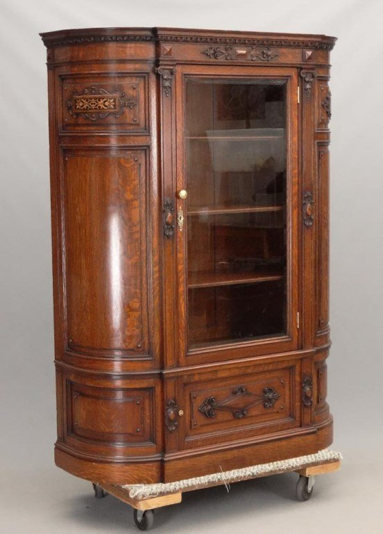 19th c. Aesthetic Movement Oak China Closet