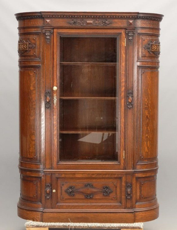 19th c. Aesthetic Movement Oak China Closet - 2