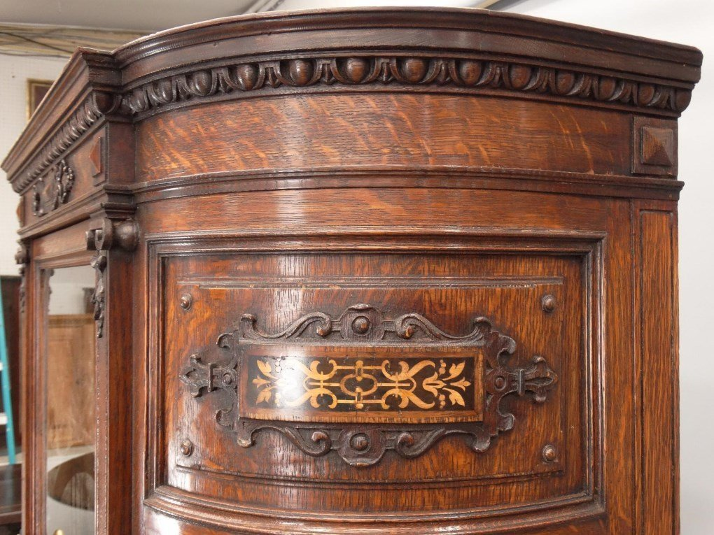 19th c. Aesthetic Movement Oak China Closet - 3
