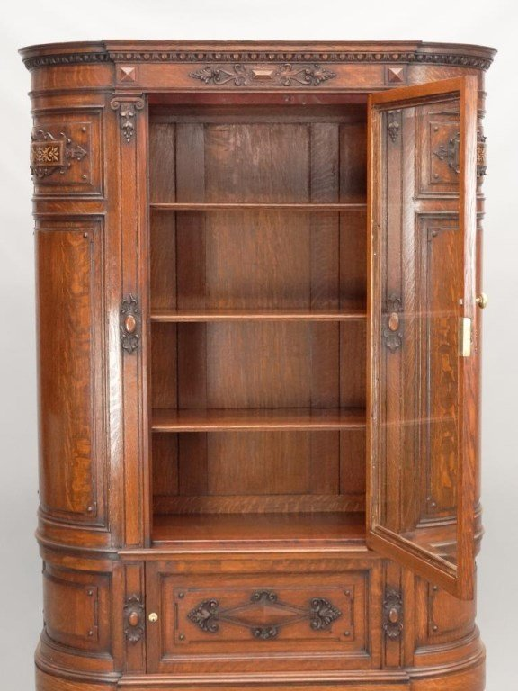 19th c. Aesthetic Movement Oak China Closet - 6