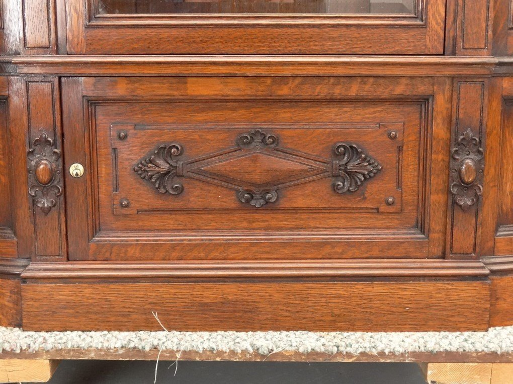 19th c. Aesthetic Movement Oak China Closet - 8