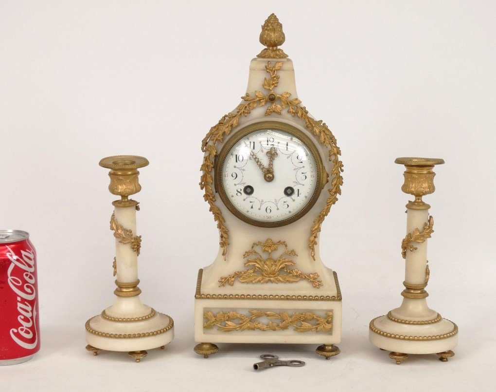 French Onyx Clock Set