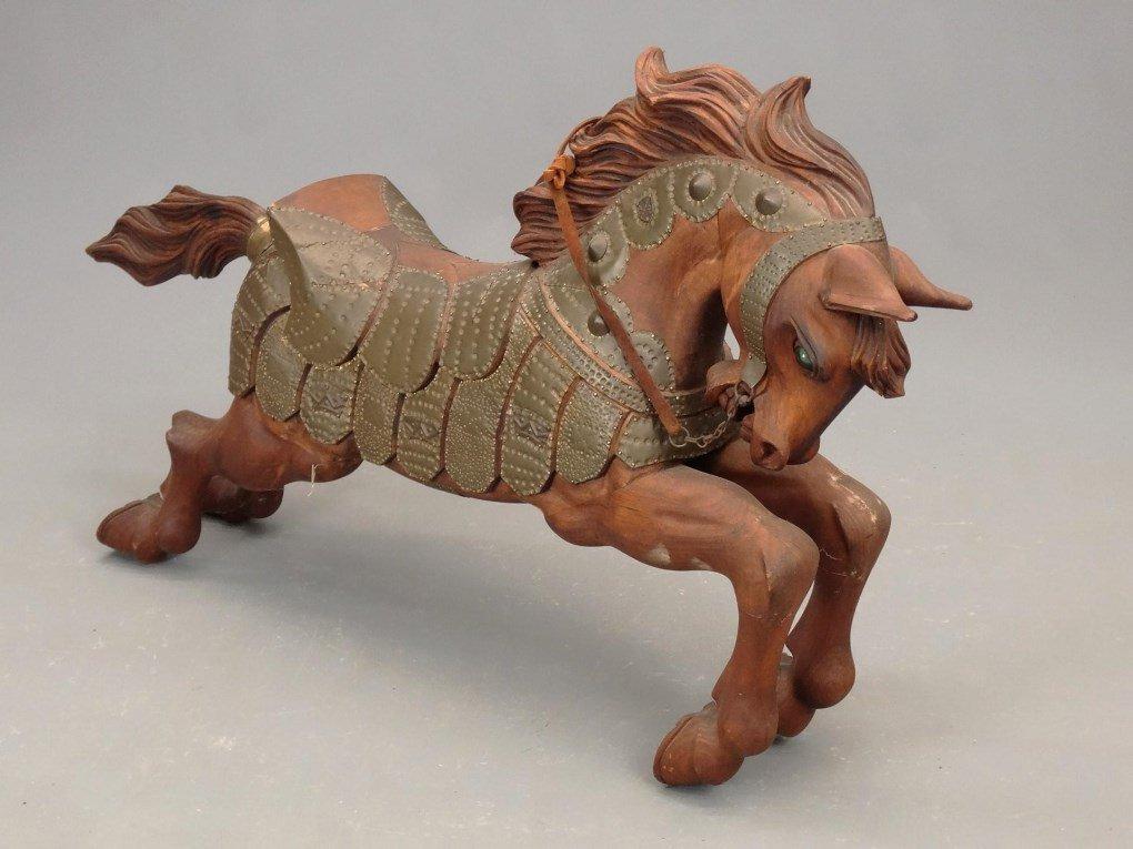 Pair Wooden Horse Figures - 10