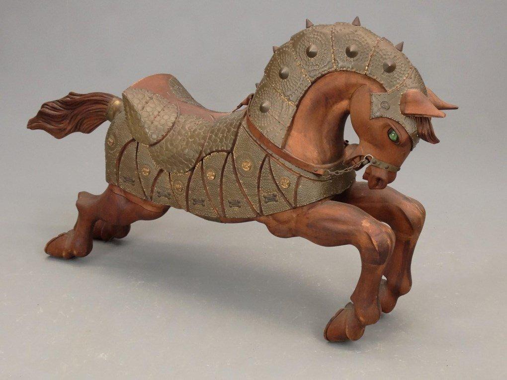Pair Wooden Horse Figures - 6