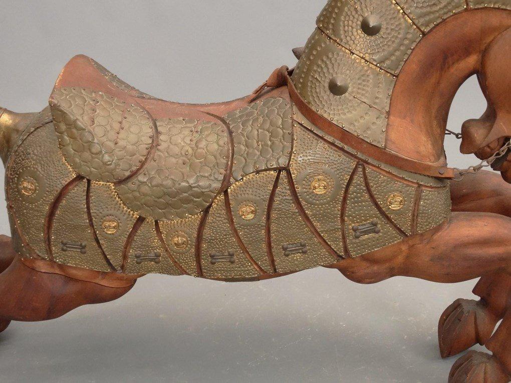 Pair Wooden Horse Figures - 8