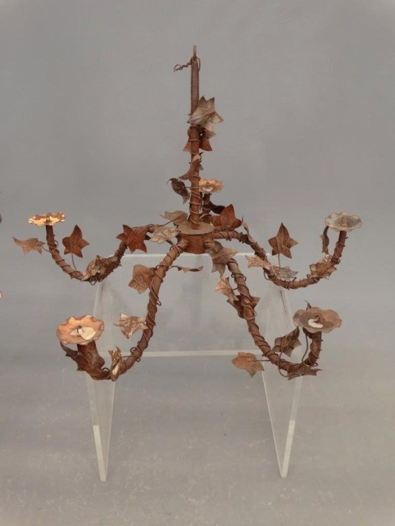 Pair Wrought Iron Chandeliers - 2