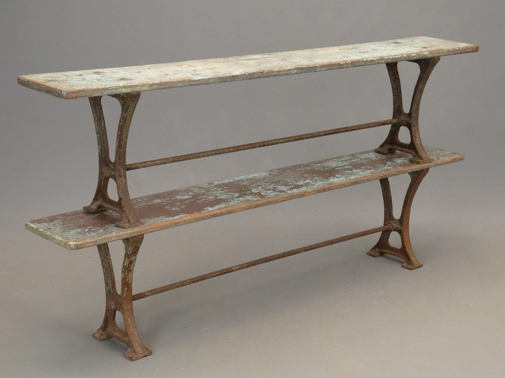 Pair Iron And Wood Benches