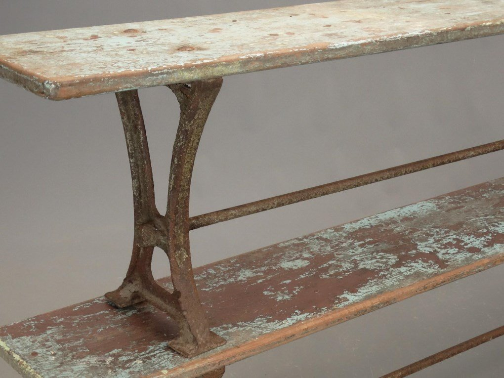 Pair Iron And Wood Benches - 2
