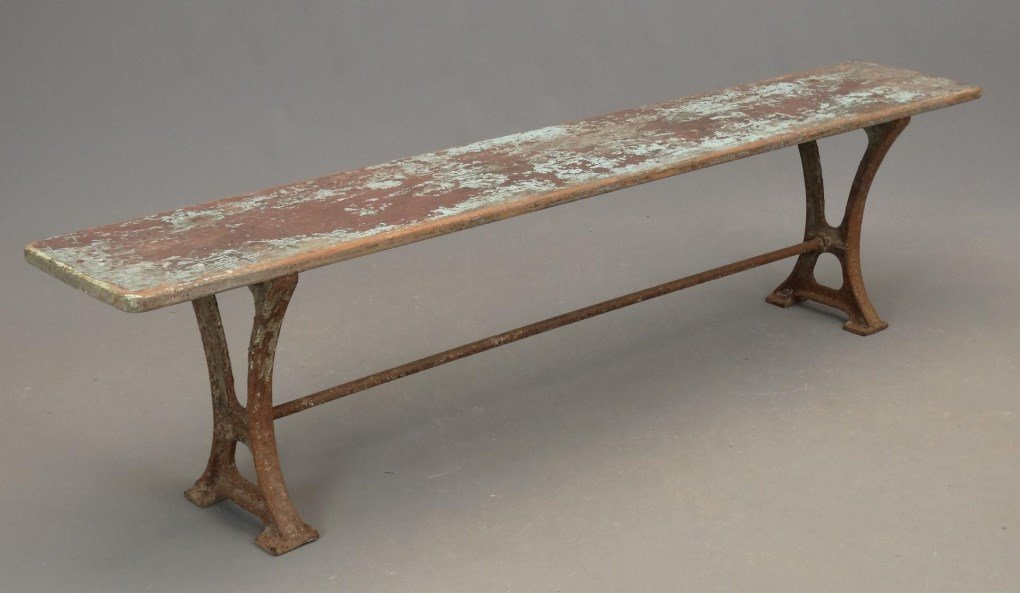 Pair Iron And Wood Benches - 4