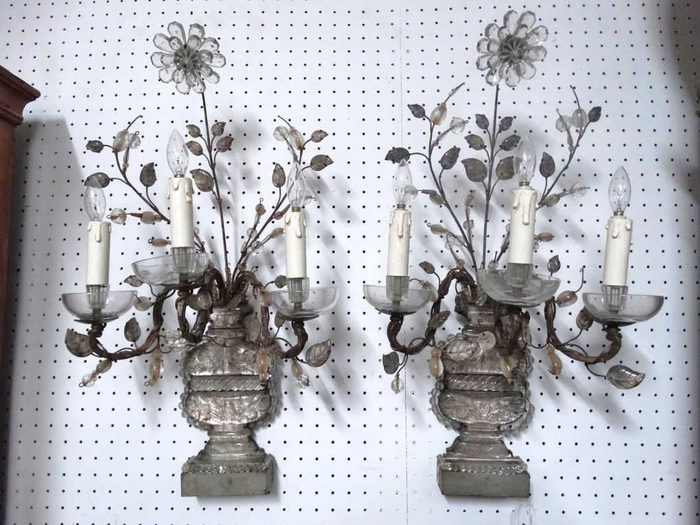 French Bronze, Rock & Crystal Cut Sconces