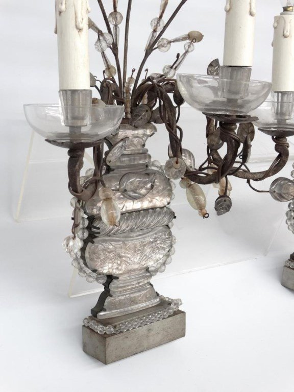 French Bronze, Rock & Crystal Cut Sconces - 2