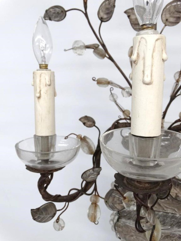 French Bronze, Rock & Crystal Cut Sconces - 4