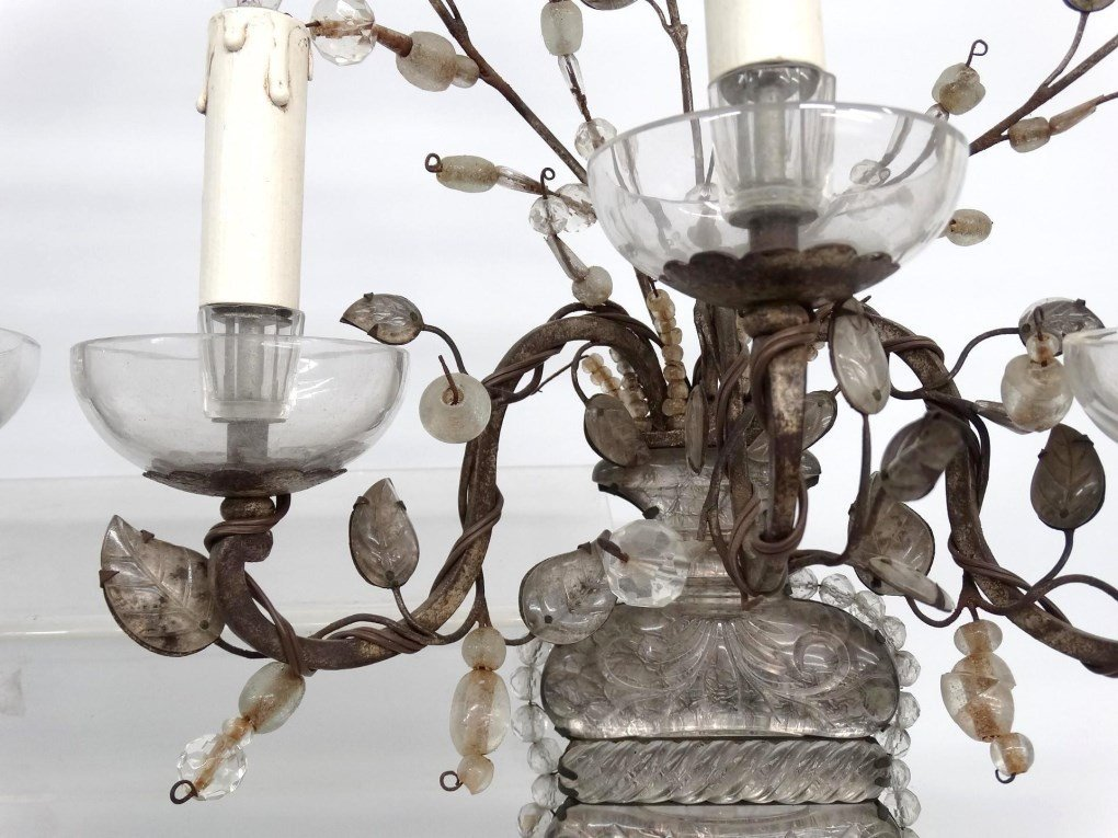 French Bronze, Rock & Crystal Cut Sconces - 6