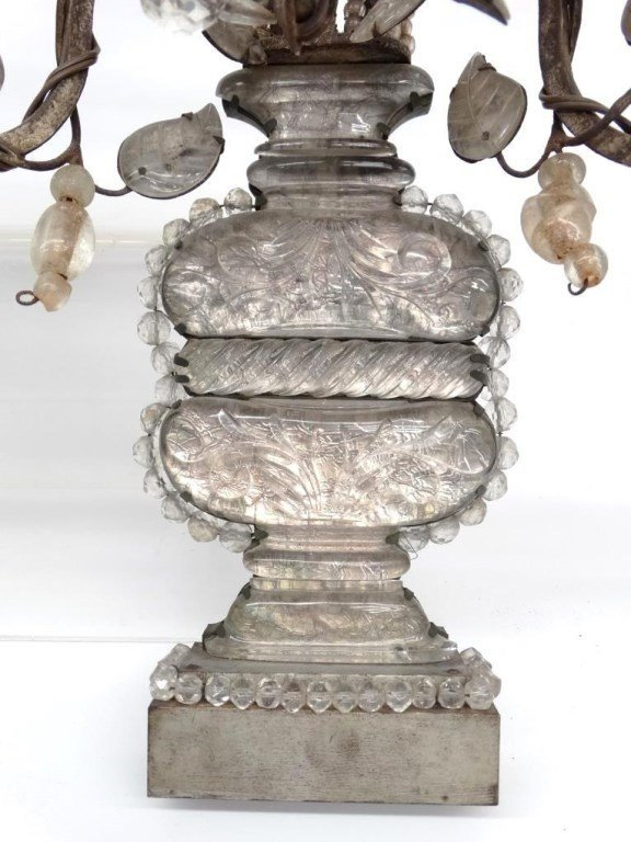 French Bronze, Rock & Crystal Cut Sconces - 9