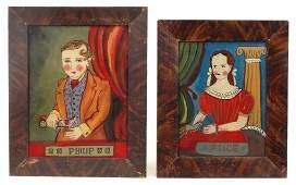 Pair 19th c. Reverse Paintings