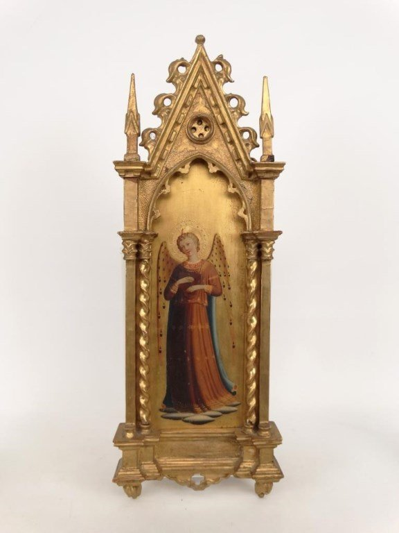 Italian Religious Icon With Carved Frame