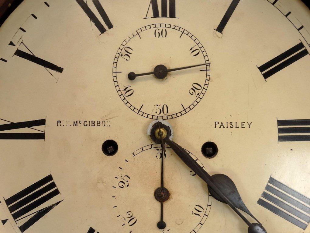 19th c. Scottish Drum Head Grandfather Clock - 4
