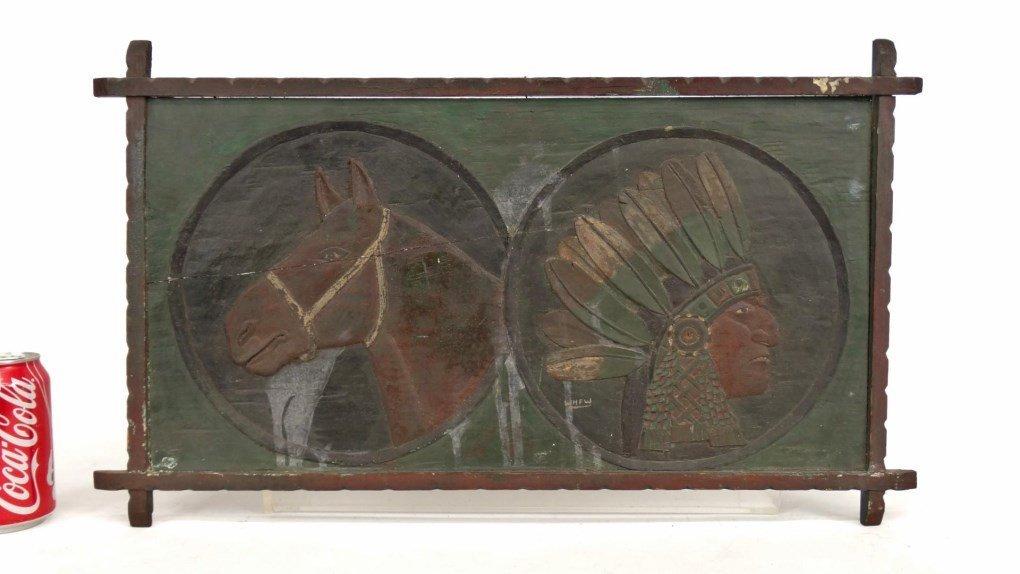 Folk Art Carved Plaque