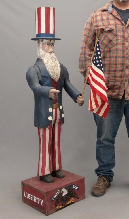 Folk Art Uncle Sam Figure - 2