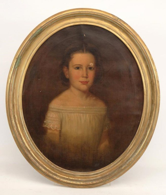 19th c. Portrait Of A Girl