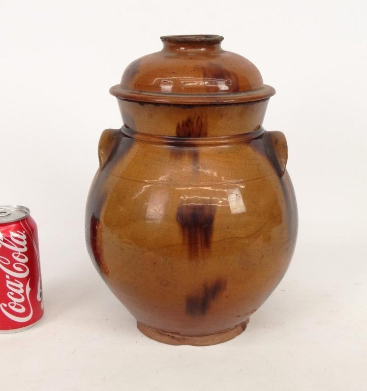 19th c. Redware Jar With Lid