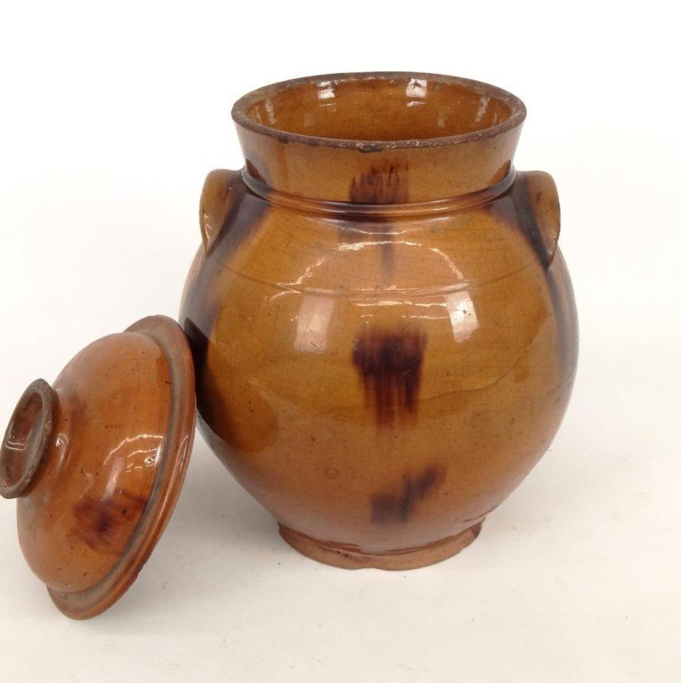 19th c. Redware Jar With Lid - 2