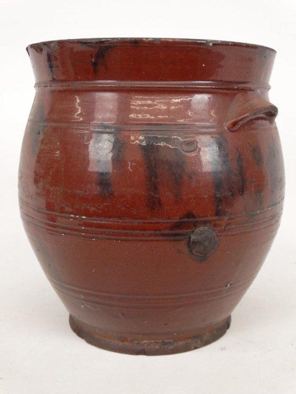 19th c. Redware Crock - 3