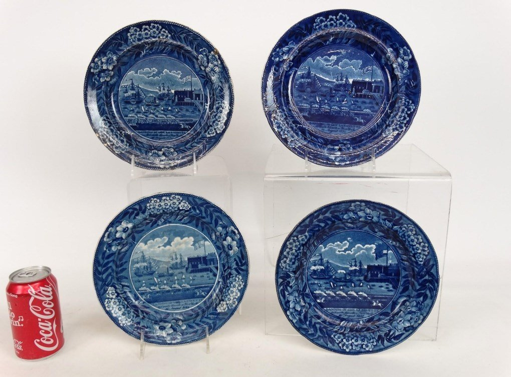 Staffordshire Blue And White Transferware Plates