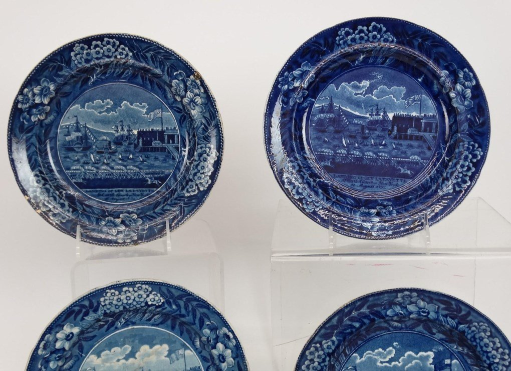 Staffordshire Blue And White Transferware Plates - 2