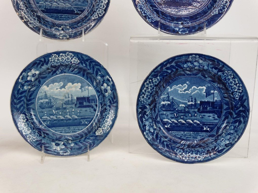 Staffordshire Blue And White Transferware Plates - 3