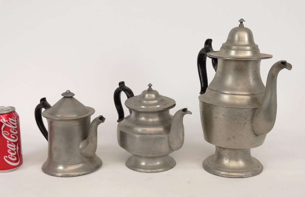 19th c. Pewter Teapots